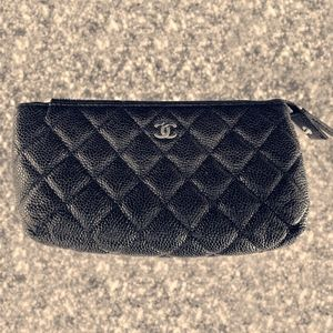 Chanel CC Cosmetic Pouch Quilted Caviar (Small)
